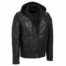 Men's Motorcycle Black Slim Fit Genuine Leather Jacket with Removable Hood