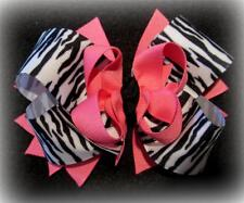 Zebra Pink Boutique Hair Bow 3 layers of Loops Spikes Funky Hairbows 5 1/4 inch