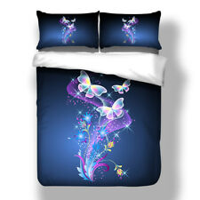 Butterfly Duvet Cover Pillow Cases Queen King Size Floral Comforter Cover Set