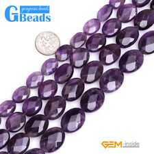 """Natural Purple Amethyst Faceted Oval Beads For Jewelry Making Free Shipping 15"""""""