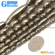 """Natural Silver Gray Pyrite Gemstone Olivary Beads For Jewelry Making 15"""" Strand"""