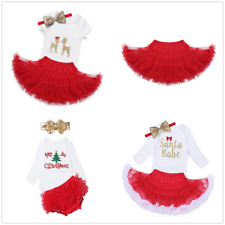 Baby Infant Girls Tops Romper Tutu Skirt Santa Party Dress Outfit Costume Xmas