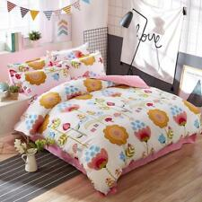 Stylish White And Pink With Colorfuf Flower Pattern 4PC Bed Set