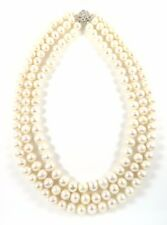 Custom Genuine 9-10mm Freshwater Cultured White Pearl Triple Strand Necklace