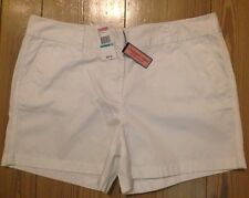 NWT LADIES VINEYARD VINES COTTON CLASSIC TWILL SHORTS:WHITE W/PINK WHALE (14,16)