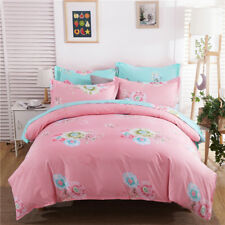 Bright Pink And Blue-Green With Lovely Colorful Flower Pattern 4PC Bed Set