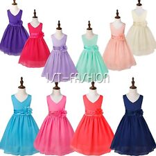 Kids Girls Chiffon Ball Prom Gown Wedding Bridesmaid Party Pageant Dress Summer
