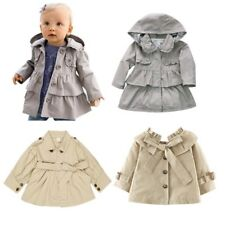 Girls Toddlers Wind Hooded Jacket Trench Coat Fall Winter Outwear Ruffle Clothes