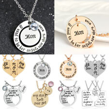 Engraved Mom Daddy Daughter BFF Letter Puzzle Pendant Necklace Set Family Gifts