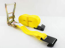 "2"" x 27' Ratchet Strap with Flat Hooks Flatbed Trailer Tiedown Cargo Control"