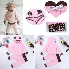 Newborn Baby Toddler Girls Leopard Hoodie Tops T-shirt+Pants Outfit Clothes Set