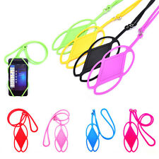 Silicone Lanyard Case Cover Holder Sling Necklace Wrist Strap For Cell Phone QW