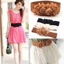 Sweet Elastic Women Lady Belt Flower Double Rose Waist Buckle Fashion Waistband