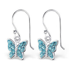 Silver and Diamante Butterfly Drop Earrings