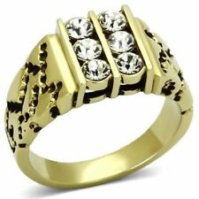 774 MENS SIGNET SIMULATED DIAMOND 316L STAINLESS STEEL14K GOLD RING PINKY 6STONE