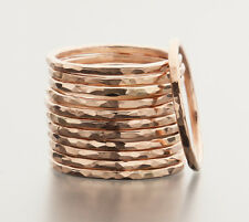 Stacking Ring 14K Rose Gold-Filled Hammered Texture Handcrafted Ring iDu Jewelry