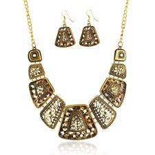 Vintage Silver/Gold Leopard Choker Bib Statement Necklace Earrings Jewellery Set