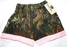 MOSSY OAK CAMO CAMOUFLAGE GIRLS SHORTS W/ PINK TRIM - BABY, TODDLER, INFANT