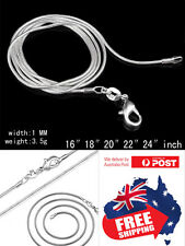 S925 Sterling Silver Plated 1mm Classic Snake Necklace Chain Wholesale Price 1pc