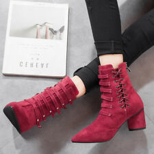 boots low stiletto 7 cm ankle red comfortable like leather 9595