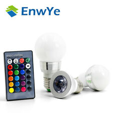 EnwYe E27-E14 LED RGB Bulb Lamp AC110V 220V 3W 5W Spot Light Dimmable IR Remote