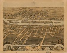 Poster Print Antique American Cities Towns States Map Batavia Illinois