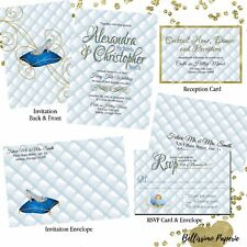 Cinderella Themed Wedding Invitation Set Custom RSVP Envelope Personalized