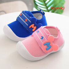 New Breathable Squeaky Infant Shoes Babys Boys Girls Soft Walking Shoes Size 4-7