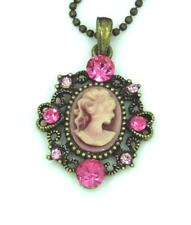 Victorian Style Lady Cameo Heart Pink Austrian Crystal Pendant Necklace