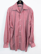 ERMENEGILDO ZEGNA ITALY MEN'S RED STRIPE LONG SLEEVE DRESS SHIRT LARGE