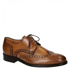 Men's light brown leather wingtips full handmade brogues shoes - Leonardo Shoes