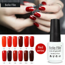 BELLE FILLE Red Color UV Nail Varnish 8ml Nail Gel Polish Soak off Gel Varnish