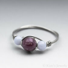 Lepidolite & Blue Lace Agate Sterling Silver Wire Wrapped Bead Ring -Ships Fast!
