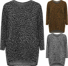 Plus Leopard Animal Print Baggy Oversized Pocket Knitted Ladies Long Sleeve Top