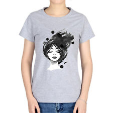 Watercolor Paint Women Slim T-shirt Cotton Fitting Tops Round Collar Tee