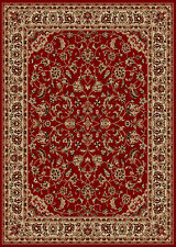 Red Blossoms Vines Leaves Petals Traditional-European Area Rug Bordered 1833
