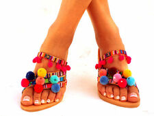 Goa LEATHER Sandals, Pom Pom sandals, Colorful Sandals, boho Sandals,Leather San