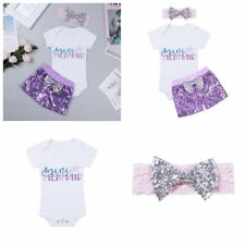3Pcs Newborn Baby Girls Sequins Outfit Romper Shorts Bodysuit Set Birthday Party