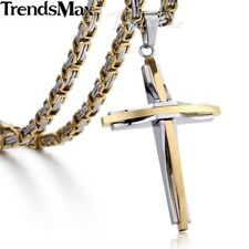 Gold Silver Cross Necklace Men Stainless Steel Byzantine Chain Men's Pendant