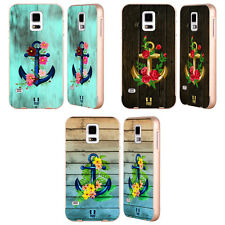 HEAD CASE DESIGNS ANCHORS AND FLORALS GOLD BUMPER SLIDER CASE FOR SAMSUNG PHONES