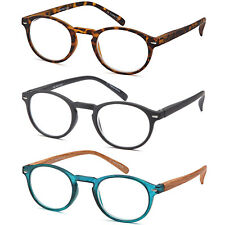 GAMMA RAY P3 Style Retro Round Readers Spring Hinged Reading Glasses, 3 Pairs