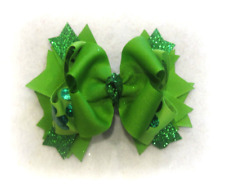 Shamrock Hologram Boutique Stacked Hair Bow Baby St. Patricks Day Bows Hairbows
