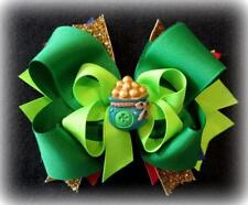Girls Boutique Stacked Hair Bow Baby St. Patricks Pot of Gold Hairbows Headband