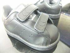 ORIGINAL BABY BOYS ADIDAS STAN SMITH CF STRAP UP TRAINERS SIZE 7.5 BLACK LEATHER