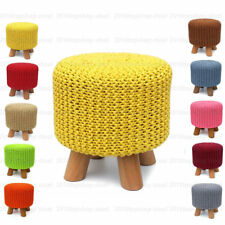 Round 100% Cotton Knitted Pouffe Padded Footstool Ottoman Cushion Foot Stool