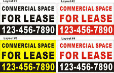 3ftX5ft Custom COMMERCIAL SPACE FOR LEASE Banner Sign with Your Phone Number