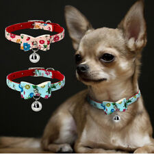 Bowknot Small Dog Collars Soft Padded for Pet Puppy Cat & Bell Chihuahua Yorkie
