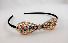 Crystal headband thin black butterfly accent on side prom dressy occasion