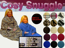 Super Soft Warm Fleece Snuggle Blanket Wrap with Pockets & Sleeves 16 COLOURS