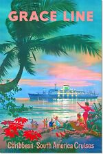 Grace Line Caribbean South America Cruises Vintage Travel Poster Reproduction